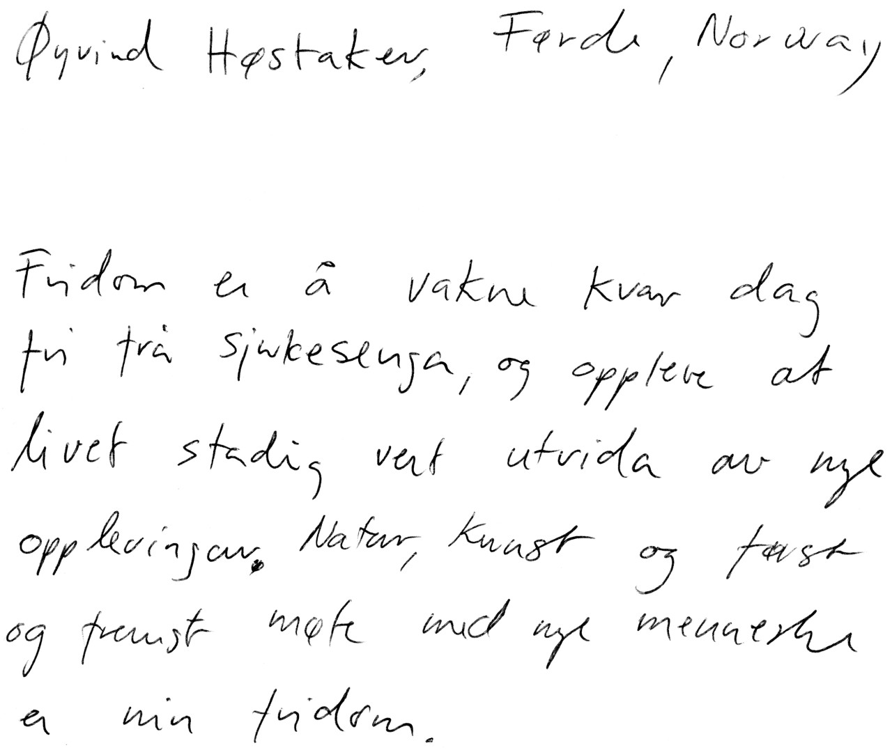 Øyvind Høstaker's definition of freedom - Tracing Freedom